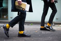 golden hour -- black pinstripe + marigold yellow, pop-of-color // menswear style + fashion