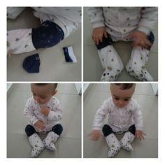 O macacão escorrega? Usando uma meia velha e umas gotas de cola quente dá pra fazer uma joelheira que dá a aderência que o bebê precisa e ainda proteje e não suja o joelho da roupa!