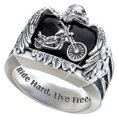 Ride Hard, Live Free Engraved Sterling Silver Ladies Motorcycle Ring: Jewelry Gift For Her Harley Davidson Wedding Rings, Harley Davidson Jewelry, Harley Gear, Motorcycle Men, Rings For Men, Live Free, Bradford Exchange, Free Ring, Men's Jewelry