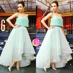 Rate her look  1.....  The beautiful Malaika Arora Khan in Azzi &  Osta on the sets of India's Got Talent @BollywoodStylefile   .