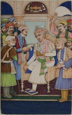 www.IndianMiniaturePaintings.co.uk - Indian miniature painting: Posthumous portrait of Mughal Emperor Akbar enthroned with hawk receiving dignitaries. Anglo-Indian at Delhi, circa late 19th century. Opaque watercolour on ivory. 19.3 x 12cm