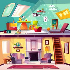 Buy Vector Interior of Playroom and Living Room by vectorpouch on GraphicRiver. Vector cross section background, cartoon interior of child playroom on attic, living room with fireplace. Cartoon Background, Animation Background, Vector Background, Dark Interiors, Office Interiors, Attic Living Rooms, Casa Anime, Diy Classroom Decorations, Cartoon House