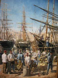 Le débarquement des blés - Alphonse Moutte - 1876.