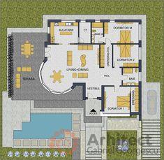 Casa parter 29 | Proiecte de case personalizate | Arhitect Gabriel Georgescu & Echipa Florida House Plans, Florida Home, Floor Plans, How To Plan, Home Decor, Home Plans, Modern Townhouse, House, Decoration Home