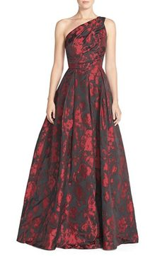 like the pleats and 1 shoulder.....Carmen Marc Valvo Infusion One-Shoulder Taffeta Ballgown available at #Nordstrom