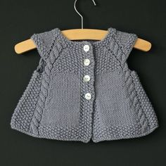 This charming cap-sleeved, swingy cardigan is the perfect timeless piece to add to any little girl's summertime wardrobe, or as an extra layer in theRavelry: Powder Blue pattern by Lisa ChemeryUnique and adorable knitting patterns for babies and ch Baby Cardigan, Baby Vest, Hooded Cardigan, Baby Knitting Patterns, Hand Knitting, Dress Design Patterns, Dress Designs, Cardigan Pattern, Cap Sleeves
