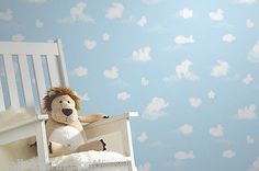 Blue-White-Childrens-Animal-Cloud-Wallpaper-fantastic-for-a-Nursery
