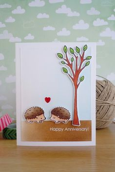 card with critters Lawn Fawn hedgehugs sending hedgehugs tree trees Stamping Smiles Designs - kort med pindsvin