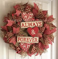 This Valentines Day wreath will make a great addition to your valentines decor this February. Made with natural colored deco mesh and