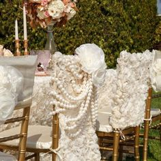 Ivory Rose Garden Pearls Chiavari Chair Cover by tangedesign White Wedding Decorations, Reception Decorations, Rose Wedding, Wedding Flowers, Wedding Tips, Wedding Cake, Wedding Stuff, Gatsby, Blue Table Settings