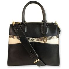 London Fog Black Natalie Satchel ($77) ❤ liked on Polyvore featuring bags, handbags, black, satchel handbags, colorblock purse, london fog, color block handbags and snake purse