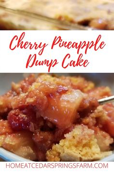 Easy To Make Desserts, Delicious Desserts, Cobbler, Cherry Pineapple Dump Cake, Brownies, Strawberry Cheesecake Bars, Muffins, Canning Cherry Pie Filling, Canned Cherries