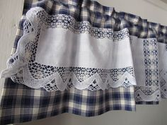 Blue Plaid Valance with Lace Linen Dresser Scarf by BettyandBabs, $42.00