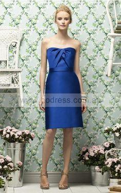 A-line Sleeveless Strapless Zipper Knee-length Evening Dresses evfa307330