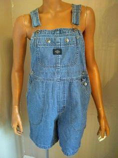 45bc8f177d8 Details about Vtg 90 s Calvin Klein Jean Bib Shortalls Denim Overalls  Womens Sz Large L shorts