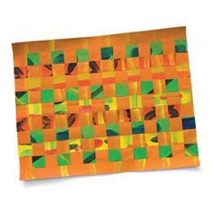 "A ""kente cloth"" mat made of paper."