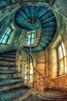 Awesome stairway in an abandoned palace in Poland