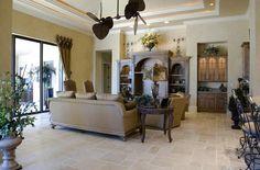 Sun room off the kitchen? Kitchen and dining room?  BuildDirect – Travertine Tile - Antique Pattern – Denizli Beige Standard - Living Room View