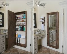 Bathroom cabinet with mirror - 50 Decorative Rustic Storage Projects For a Beautifully Organized Home