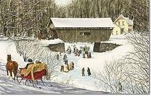 Covered Bridge - Currier and Ives Iris Painting, Dashing Through The Snow, Currier And Ives, Old Fashioned Christmas, Vintage Postcards, Vintage Prints, Art Images, Winter Wonderland, Folk Art