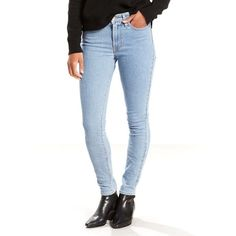 Women's Levi's® 721 Modern Fit High Rise Skinny Jeans ($40) ❤ liked on Polyvore featuring jeans, med blue, high waisted jeans, super high-waisted skinny jeans, blue skinny jeans, white skinny jeans and high rise skinny jeans