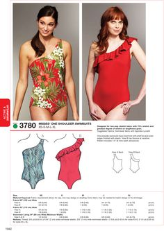 One Shoulder Swimsuits-XS-S-M-L-XL Patternnull