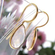 Oorbellen rozenkwarts druppels - Jewels with Flair