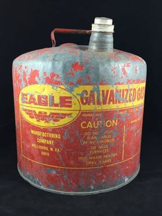 Eagle Gas Can Galvanized Metal Model 505 5 Gallon Vintage With Caps Metal Handle #Eagle