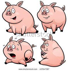 Vector illustration of Cartoon Pig Character Set - stock vector