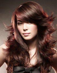 Дерзкая укладка стрижки лесенка на длинные волосы каштанового цвета с…