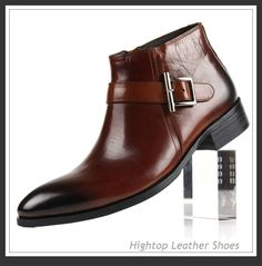 Free shipping new 2014 men's genuine boots,ankle boots,fashion boots,sip-on,buckle,pointed toe,black/wine-red,38-44 $437.50