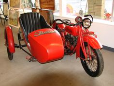 What can I say. Antique Indian motor cycle with side car-restored.