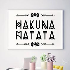 "INSTANT DOWNLOAD: HAKUNA MATATA ★ NO PHYSICAL PRINT INCLUDED ★ ★ 300DPI JPG FILES INCLUDED WITH PURCHASE ★ 1) 5""x7"" // 12x17cm 2) 8""x10"" // 20x25cm 3) 24""x30"" // 60x76cm ______________________________________ Check out our entire collection here: https://www.etsy.com/shop/TypeSecret"