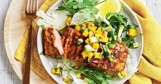 For a good source of protein and fibre, try this cajun-spiced salmon served with fresh mango and avocado salsa.