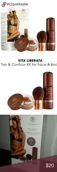 Vita Liberata Luxury Tan & Contour For Face & Body New in Box   This set contains: - 0.84 oz pHenomenal 2 - 3 Week Tan Mousse in Medium - 0.1 oz Trystal? Minerals Self-Tanning Bronzing Minerals - Kabuki brush  What it is formulated WITHOUT: - Parabens - Sulfates - Phthalates Makeup Bronzer