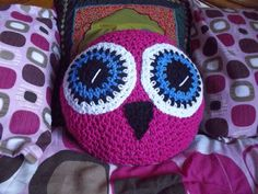 Crochet Owl Pillow Pink by TigerBearGoodies on Etsy