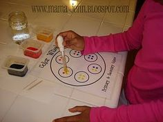 color wheel. laminate templet, use tempra instead of food coloring, use paper instead of paper towel