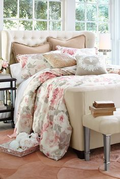 The floral pattern on Pier 1's softly romantic, watercolor-style Vintage Rose Comforter & Sham is created with a unique multiscreen process to achieve a deep textural effect on 100% cotton sateen, then given a lofty poly fill. Just accent it with our curated shams and pillows, both lacy and embroidered, for a look of pure romance.