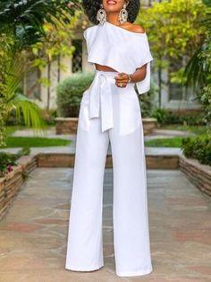 Cut-out Crop Top Wide Leg Jumpsuit - M / White