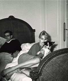 Roger Vadim and Brigitte Bardot with her dog in the Hotel Negresco in Nice (1958) from Celebrity Pets.