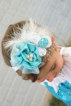 Couture Headband, Frozen Headband, shabby chic headband, Newborn Photography, Blue Vintage Headband, Fabric flower headband, Elsa and Anna by ElleBelleCouture on Etsy https://www.etsy.com/listing/191618695/couture-headband-frozen-headband-shabby