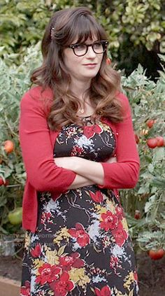 432a176ce4 Jess s black and red floral dress on New Girl. Outfit Details  https