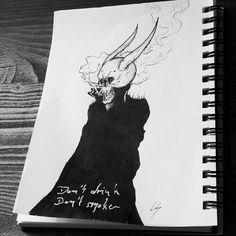 Inktober Day 1 - Skele-Devil/Oni-Dracula whatever thing  #seasonofthebadguysclub2 #inktober2017 #inktober #inking #lowbrowart #lowbrowwolfpack #darkartist #oni #skull #devil #deathmetalart #drawing #drawloween #zeichnung #art #artist #design #lifeformdrawingclub #vampire #blackworknow #blackwork #sketch #sketchbook #smoke