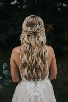 Wedding Hair Down, Wedding Hairstyles For Long Hair, Wedding Hair Pieces, Wedding Hair And Makeup, Wedding Updo, Wedding Hair With Braid, Half Up Half Down Wedding Hair, Bride Hair Down, Hairstyles For Bridesmaids