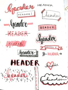 Bullet Journal Headers Lettering Headers for Planners & Bullet Jo. - Bullet Journal Headers Lettering Headers for Planners & Bullet Journal - Bullet Journal School, Bullet Journal Headers, Bullet Journal Banner, Bullet Journal Notebook, Bullet Journal Ideas Pages, Bullet Journal Spread, Bullet Journal Inspiration, Bullet Journals, Bullet Journal Hand Lettering