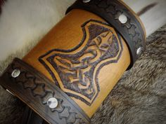 Viking Inspired Leather Wrist Cuff with Tooled by BeastmanCaravan