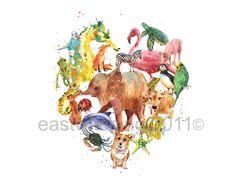 Animal Art Heart Print,heart print, animal lover gift, watercolor animals. $18.00, via Etsy.