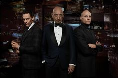 Jaguar Super Bowl commercial  British Villains lineup Sir Ben Kingsley, Tom Hiddleston and Mark Strong.