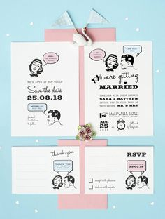 This 1950s retro wedding set printable is perfect if you are looking for a casual wedding invitation yet fun and unique. Perfect for a retro, vintage wedding affair. This listing is for a 4 piece wedding stationery set in the format of a digital file. It consist of the following