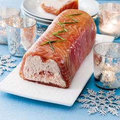 Smoked salmon terrine-Chunks of meaty hot smoked salmon add texture to this show-stopping centrepiece. Salmon Terrine Recipes, Smoked Salmon Terrine, Smoked Salmon Appetizer, Smoked Salmon Recipes, Fish Recipes, Seafood Recipes, Appetizer Recipes, Cooking Recipes, Appetizers